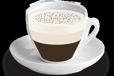 Cappuccino<br><small><em>1/3 de cafè, 1/3 de llet, 1/3 de llet emulsionada</em></small>